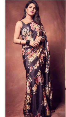 Black Floral Saree